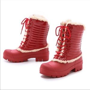 Hunter Original Shearling Pac Red Boots 6